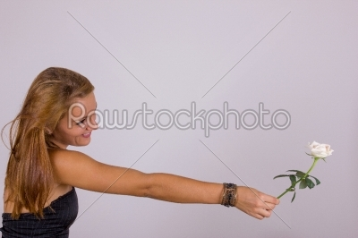 stock photo: attractive young woman with white rose-Raw Stock Photo ID: 52446