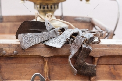 stock photo: axes on carriage-Raw Stock Photo ID: 67040