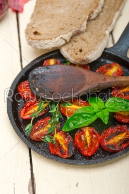 stock photo: baked cherry tomatoes with basil and thyme-Raw Stock Photo ID: 64211