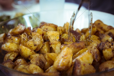 stock photo: baked potatoes in a glass bowl-Raw Stock Photo ID: 75159