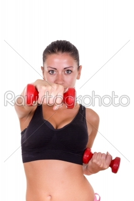 stock photo: beautiful sporty woman exercising and lifting weights dumbbells-Raw Stock Photo ID: 52488