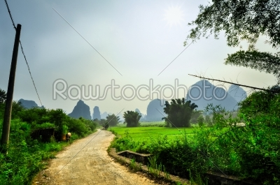 stock photo: biking around park and karst rocks yangshuo-Raw Stock Photo ID: 57061