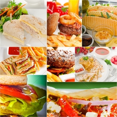 stock photo: burgers and sandwiches collection on a collage-Raw Stock Photo ID: 64438