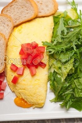 stock photo: cheese ometette with tomato and salad-Raw Stock Photo ID: 59138