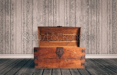 stock photo: chest in wood on the floor-Raw Stock Photo ID: 66693