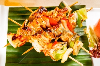 stock photo: chicken and vegetables skewers-Raw Stock Photo ID: 54235