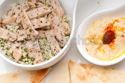 stock photo: chicken taboulii couscous with hummus-Raw Stock Photo ID: 59851