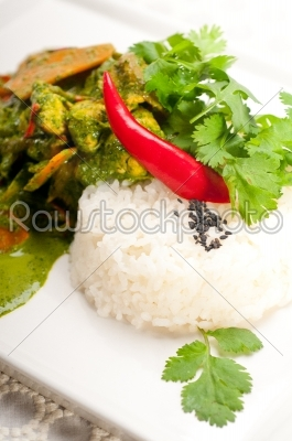 stock photo: chicken with green curry vegetables and rice-Raw Stock Photo ID: 59350