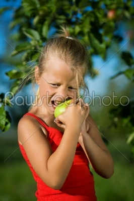 stock photo: child bties into the apple-Raw Stock Photo ID: 51538