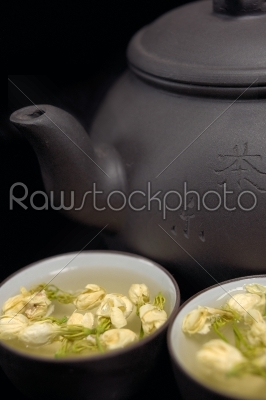 stock photo: chinese jasmine tea pot and cups-Raw Stock Photo ID: 57727