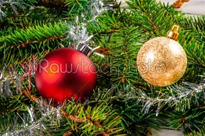 stock photo: christmas baubles on pine-Raw Stock Photo ID: 66165