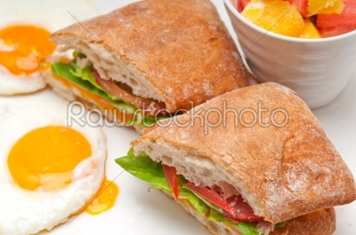 stock photo: ciabatta panini sandwich eggs tomato lettuce-Raw Stock Photo ID: 58451