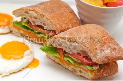 stock photo: ciabatta panini sandwich eggs tomato lettuce-Raw Stock Photo ID: 59254