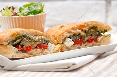 stock photo: ciabatta panini sandwichwith vegetable and feta-Raw Stock Photo ID: 59510