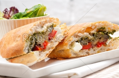 stock photo: ciabatta panini sandwichwith vegetable and feta-Raw Stock Photo ID: 64860