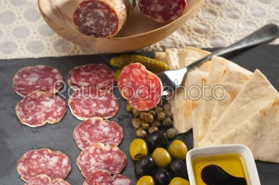 stock photo: cold cut platter with pita bread and pickles-Raw Stock Photo ID: 59518