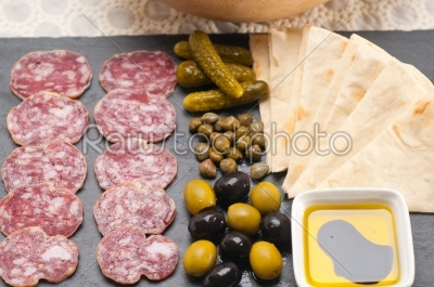 stock photo: cold cut platter with pita bread and pickles-Raw Stock Photo ID: 59547