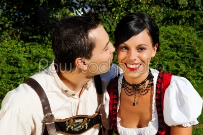 stock photo: couple in traditional bavarian dress in summer-Raw Stock Photo ID: 51754
