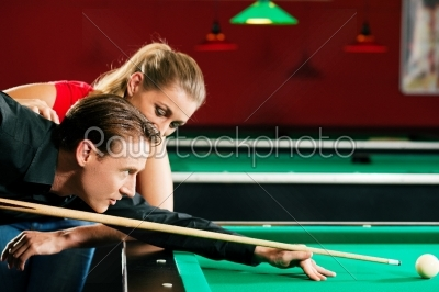 stock photo: couple playing billiards-Raw Stock Photo ID: 51097