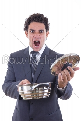 stock photo: dissatisfied man holding pot for cooking with expression-Raw Stock Photo ID: 52725
