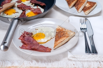 stock photo: eggs bacon and toast bread-Raw Stock Photo ID: 57993