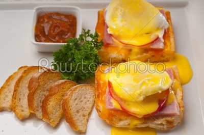 stock photo: eggs benedict on bread with tomato and ham-Raw Stock Photo ID: 58015