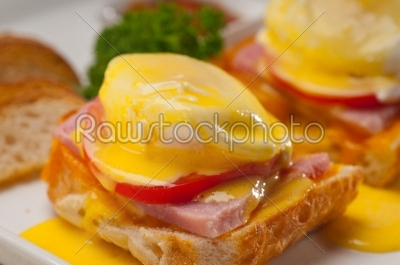 stock photo: eggs benedict on bread with tomato and ham-Raw Stock Photo ID: 59248