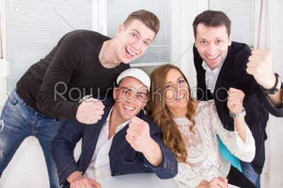 stock photo: excited enthusiastic happy friends showing sign of success with -Raw Stock Photo ID: 52975