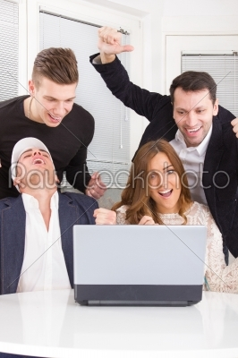stock photo: excited happy group of friends winning online using laptop-Raw Stock Photo ID: 52976