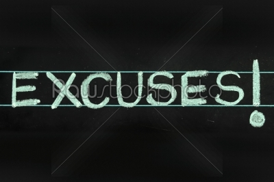 stock photo: excuses word handwritten on black chalkboard-Raw Stock Photo ID: 61265