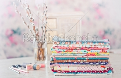 stock photo: fabric pile of colorful folded textile with sew items-Raw Stock Photo ID: 68408
