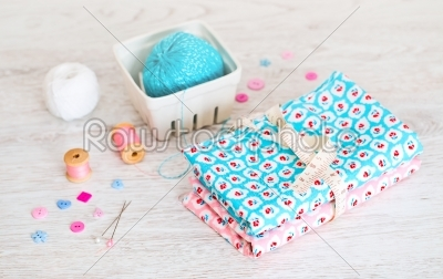 stock photo: fabric pile of colorful folded textile with sew items-Raw Stock Photo ID: 68445