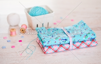 stock photo: fabric pile of colorful folded textile with sew items-Raw Stock Photo ID: 68446