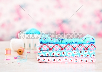 stock photo: fabric pile of colorful folded textile with sew items-Raw Stock Photo ID: 68448