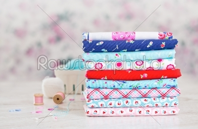 stock photo: fabric pile of colorful folded textile with sew items-Raw Stock Photo ID: 68449