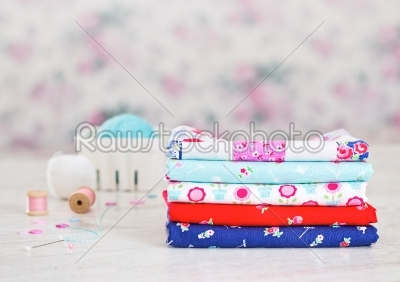 stock photo: fabric pile of colorful folded textile with sew items-Raw Stock Photo ID: 68450