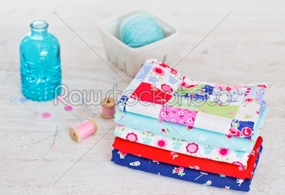 stock photo: fabric pile of colorful folded textile with sew items-Raw Stock Photo ID: 68451