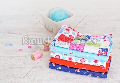 stock photo: fabric pile of colorful folded textile with sew items-Raw Stock Photo ID: 68452