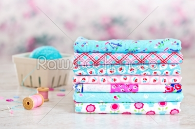stock photo: fabric pile of colorful folded textile with sew items-Raw Stock Photo ID: 68474