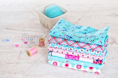 stock photo: fabric pile of colorful folded textile with sew items-Raw Stock Photo ID: 68475