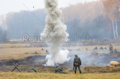 stock photo: fearless soldier under the bombing-Raw Stock Photo ID: 67047