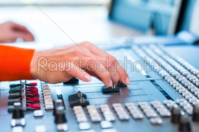 stock photo: female radio presenter in radio station on air-Raw Stock Photo ID: 49847