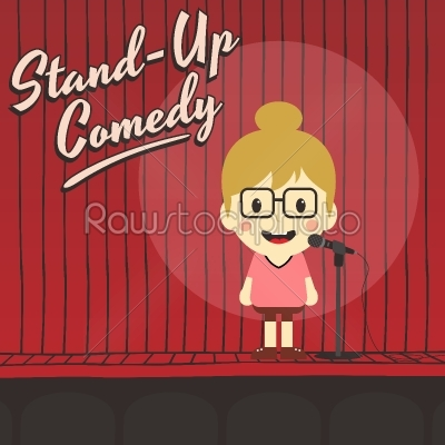 stock vector: female stand up comedian cartoon character-Raw Stock Photo ID: 69192