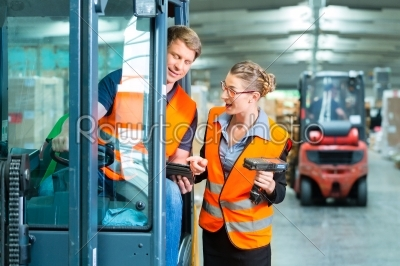 stock photo: forklift driver and supervisor at warehouse-Raw Stock Photo ID: 49236