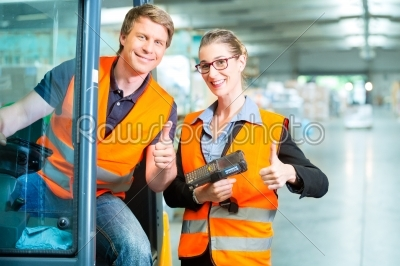 stock photo: forklift driver and supervisor at warehouse-Raw Stock Photo ID: 49239