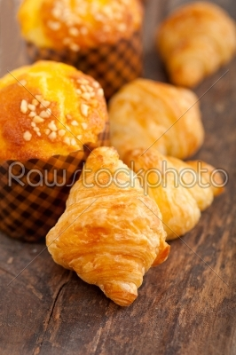 stock photo: fresh baked muffin and croissant mignon-Raw Stock Photo ID: 65214