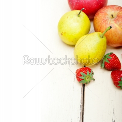 stock photo: fresh fruits apples pears and strawberrys-Raw Stock Photo ID: 64770