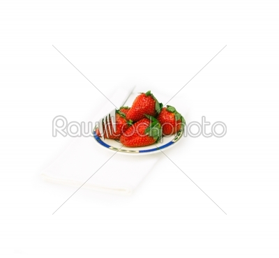 stock photo: fresh strawberries dish over white-Raw Stock Photo ID: 58204