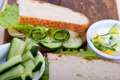 stock photo: fresh vegetarian sandwich with garlic cheese dip salad-Raw Stock Photo ID: 64692