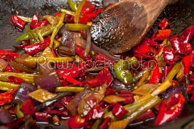 stock photo: fried chili pepper and vegetable on a wok pan-Raw Stock Photo ID: 64797